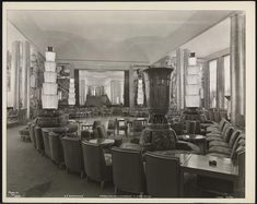 """""""Normandie"""", Grand Salon and Staircase to Cafe Grill, Cabin Class."""