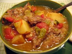Slow Cooker Green Chili Stew is a comfort food here at the cottage. It is a wonderful blend of Green Chilis and stew, a real must try for Tex Mex Lovers. Green Chili Pork, Green Chile Stew, Green Chili Recipes, Mexican Food Recipes, Chipotle Chili, Mexican Dishes, Green Chilis, Hatch Chili, Spanish Recipes