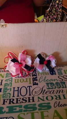 Red black and white lady bug hair clips