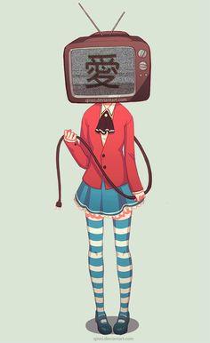 Immagine di anime and tv head Aesthetic Drawing, Aesthetic Art, Pretty Art, Cute Art, Qinni, Object Heads, Character Art, Character Design, Tv Head