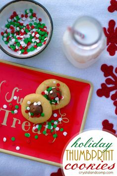 How to make holiday thumbprint cookies for Santa using an easy sugar cookie recipe.