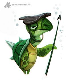 Daily Painting Turtle Guard by Cryptid-Creations on DeviantArt Cute Animal Drawings, Cartoon Drawings, Cute Drawings, Cute Illustration, Character Illustration, Character Design References, Character Art, Illustrations, Cute Creatures
