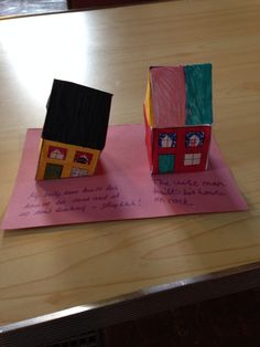 "Houses ""The wise and foolish builder"" Done at out local Messy Church!!"