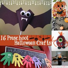 16 Preschool Halloweeen Crafts...hese easy-to-do crafts use recyclables, paper, and fabrics that your children will be able to craft with comfortably. Get your kids of all ages celebrating Halloween this season with their own projects....Halloween Crafts with Paint  Pumpkin Crafts for Kids... Kids' Crafting with Recyclables... Animal Crafts for Halloween...