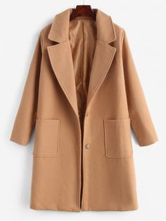 ab492844db3c Faux Wool Snap Button Masculine Coat