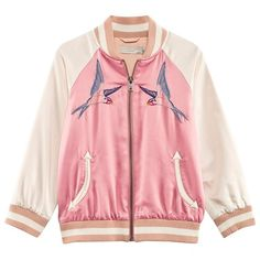 Stella McCartney Kids Pink and Cream Swallow Embroidered Satin Bomber
