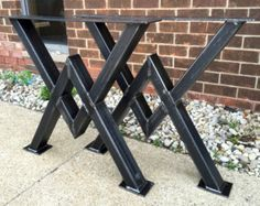 SET of 4 Steel I-beam table legs for by TimberForgeWoodworks