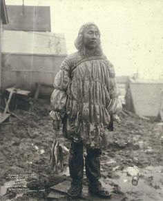 Inuit man wearing a sea lion gut parka. Mode Costume, Revival Clothing, First Nations, Historical Photos, Style Guides, Vintage Photos, Silhouettes, Illustration, Menswear