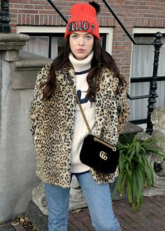 Get this look: http://lb.nu/look/8515087 More looks by Lucila LC: http://lb.nu/lucilalaland Items in this look: Loavies Leopard Coat, Fila Oversized Jumper, Gucci Velvet Marmont Bag #casual #sporty #street
