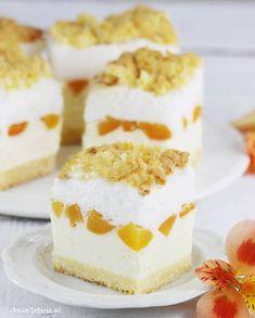 Sernik z brzoskwiniami, 3 Cheesecakes, Vanilla Cake, Sweets, Baking, Gastronomia, Kitchens, Kuchen, Recipes, Bakken
