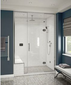 Here's how you can transform your bathing experience with a spa-quality steam shower, and begin to reap the healthy benefits of steam. Photo courtesy of Bathroom Spa, Bathroom Curtains, Modern Bathroom, Small Bathroom, Master Bathrooms, Bathroom Showers, Bathroom Ideas, Shower Ideas, Remodel Bathroom
