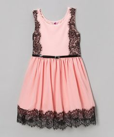 Take a look at this Pearl Pink Lace Dress by Beautees on #zulily today!