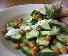 Pin for Later: 17 Healthy Cucumber Recipes to Cool Down Your Summer Roasted Chickpea and Cucumber Salad Get the recipe: roasted chickpea and cucumber salad