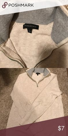 Half zip sweater Cream color. Great Condition! Banana Republic Sweaters