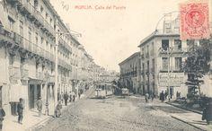 Tranvía eléctrico en la calle del Puente  Historias del tren: LOS TRANVÍAS DE MURCIA (II)