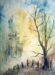 Print Of Original Watercolor landscape painting  10X8 by RPeppers, $25.00