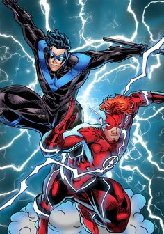 Nightwing and Kid Flash Dc Comics Superheroes, Dc Comics Art, Batman Comics, Flash Comics, Kid Flash, Batgirl, Flash Tv Series, Nightwing And Starfire, Robin Dc