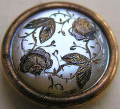Antique Engraved Mother of Pearl Button.