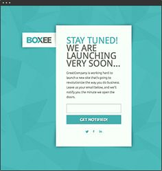 Boxee  A simple email capture page for the pre-launch of your new business.
