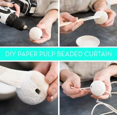 How To: Make a Minimal Beaded Curtain Using Paper Pulp