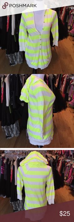 Splendid M striped hoodie Splendid M tunic hoodie stripes in gently worn clean condition. Buttons up the front worn as a hoodie. Color is a neon yellow. My mannequin is a Small and it fits loose. Consigned to my boutique no trades Splendid Tops Tees - Long Sleeve
