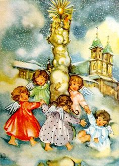 Antique Christmas, Vintage Christmas Cards, Retro Christmas, Christmas Angels, Xmas, Christmas Ideas, Hallmark Cards, Christmas Illustration, Religious Art