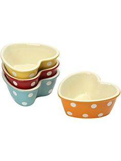 A set of 4 stoneware ramekins with a pretty polka dot design. Perfect for serving food, side dishes or delicious puddings. They nest together for easy storage. Polka Dot Print, Polka Dots, Souffle Dish, Oven Dishes, Side Dishes, Thing 1, Egg Cups, Polish Pottery, Jar Storage