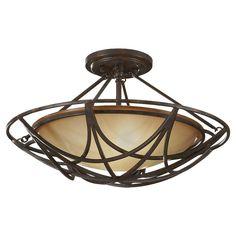 Feiss El Nido 2-Light Mocha Bronze Semi-Flush Mount Light-SF286MBZ - The Home Depot