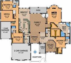 I like most of this layout, but 1) want kitchen open to family/bfast are. 2)I don't like how you get to the bedrooms thru the kitchen. 3) Or how the garage isn't more directly connected to the kitchen area. Would want a second story with a large family area!