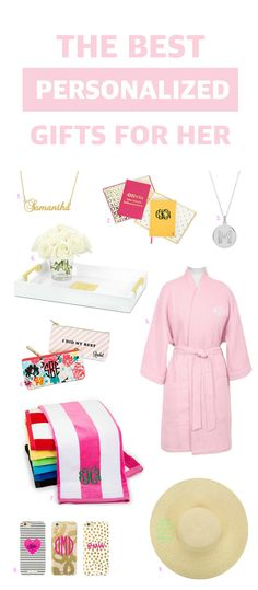 FINALLY a list of affordable personalized gifts for all the ladies in your life! | Fashion, beauty and Lifestyle blogger Mash Elle teams up with @tremembered to show you the BEST affordable personalized gift ideas for every woman in your life - your mom, daughter, sister, neighbor, co-worker, niece, best friend and more! This roundup features personalized necklaces, hat, bath robe, beach towels, home decor items and so much more! #ad