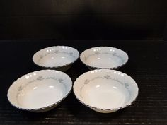 FOUR beautiful Syracuse ChinaSweetheart Silhouette Berry Bowls. These Berry, Fruit or Dessert Bowls are very hard to find! Syracuse China, Dessert Bowls, Pie Dish, Small Businesses, Berry, Fruit, Tableware, Desserts, Vintage