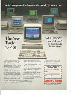 1988 Advertisement Radio Shack Tandy 1000 SL DeskMate MS DOS Personal Computer 80s Internet Tech Geek Nerd Wall Art Decor