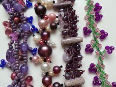 Purple Beadwork Bracelet  Braided Pearl Bead by MeerkatsManor, $11.00