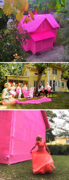 """This maker is so inspiring! """"Our pink house is about the journey, not just about the artwork itself... No matter how low life might bring us, we can get back on our feet and start anew."""" – Olek"""