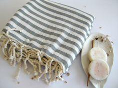 Premium Turkish Towel, Peshtemal, beach towel, hammam towel, bath towel, picnic towel, Spa Towel, Gray Striped. $24.00, via Etsy.