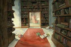 In the library / En la biblioteca (ilustración de Dawn Elaine Darkwood)