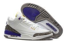 Mens 2016 New Air Jordan 3 Kobe Bryant White Purple Gold