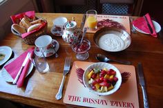 Breakfast table at The Russian Tavern Table Settings, Breakfast, Morning Coffee, Table Top Decorations, Place Settings, Desk Layout