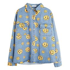 90s Denim shirt yellow smile face ($33) ❤ liked on Polyvore featuring tops, blouses, shirts, jackets, yellow top, checkered blouse, checked shirt, sleeve blouse and denim shirts