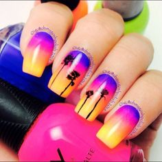 Tropical Gradient Sunset Nails With Palm Trees