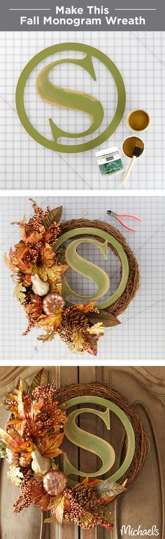 A lovely monogram wreath is the perfect way to welcome your guests this fall. Simply paint the initial wood wreath in your home's colors and attach it to the pre-made grapevine wreath. Finish with metallic floral sprays. Find everything you need to make this Fall wreath at your local Michaels store!