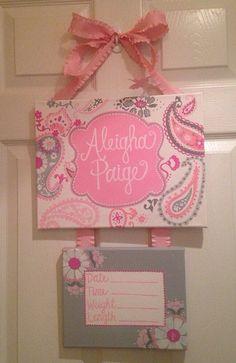 Pink Paisley door hanger