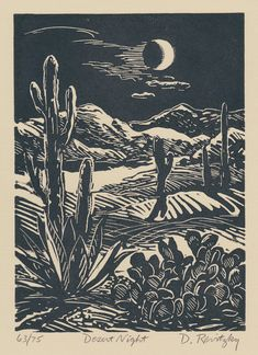 Desert Night - Linocut by Dennis Revitzky
