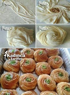 Rose Baklava Recipe How? Pink diamond powder that is primarily required to make syrup of sugar, water and lemon juice to a pot and mix until sugar is dissolved. Maamoul Recipe, Baklava Recipe, Ramadan Recipes, Sweets Recipes, Cooking Recipes, Amazing Food Decoration, Lebanese Desserts, Food Carving, Puff Pastry Recipes
