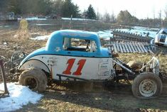 Click this image to show the full-size version. Abandoned Vehicles, Abandoned Cars, Dirt Track Racing, Nascar Racing, Ridge Runner, Crate Motors, Car Barn, Old Race Cars, Rusty Cars