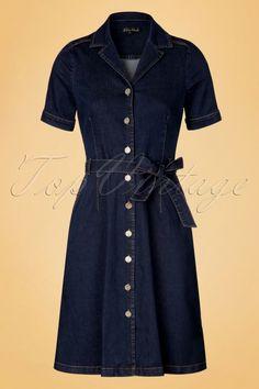 King Louie - 70s Lana Denim Dress in Ink Blue