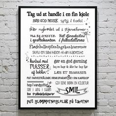 Plakat - Glimmeronsdag - sort/hvid Wise Qoutes, Art Therapy, Live Life, My Dream Home, Cool Words, Funny, Motivational Quotes, Glimmer, Humor