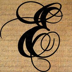 Monogram Initial Letter E Digital Collage Sheet Burlap Digital Download Calligraphy 4 Burlap Transfer 2 Pillow Tote Tea Towels No. 2089E