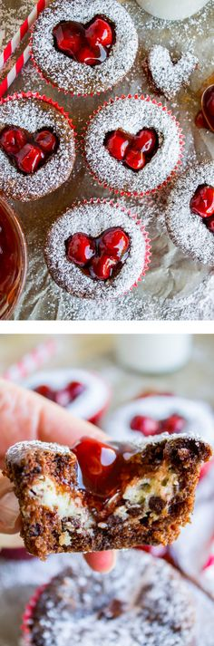 Cheesecake Filled Chocolate Cupcakes with Cherry Hearts from The Food Charlatan. A decadently moist chocolate cupcake. No dry center for sure, because you have a CHEESECAKE center. And THEN, you cut a heart out of the top and spoon in cherry pie filling. Dry cupcakes, be gone! These are just perfect for Valentine's Day! Everyone will love you.#valentinesday #valentines #galentines #heart #cherry #chocolate #treats #cupcake #cheesecake #chocolate #cherrypiefilling #moist #powderedsugar…