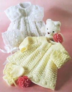 Baby Knitting Pattern PDF - Matinee coat/Jacket, Mitts, Bonnet and Booties Bebe Layette Baby Knitting Patterns, Coat Patterns, Knitting For Kids, Baby Patterns, Free Knitting, Cardigan Bebe, Knitted Baby Cardigan, Knit Baby Sweaters, Baby Knits